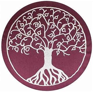 Cojín de meditación Maylow con bordado del árbol de la vida, 33x 15 cm, relleno de espelta, funda y relleno 100 % algodón, color morado, tamaño 15