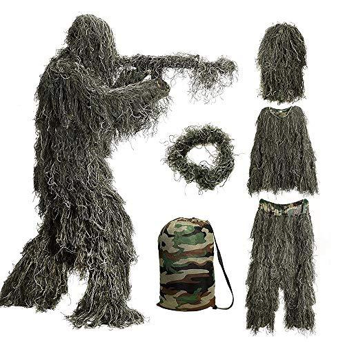 Bseical Ghillie Suit, Tarnanzug Jagd Wald - Wüste, Tarnkleidung Jagd Paintball Airsoft Sniper Camouflage Set Tarn Hose Jacke, Ghillie Zubehör Tarnumhang (Wald, Free)