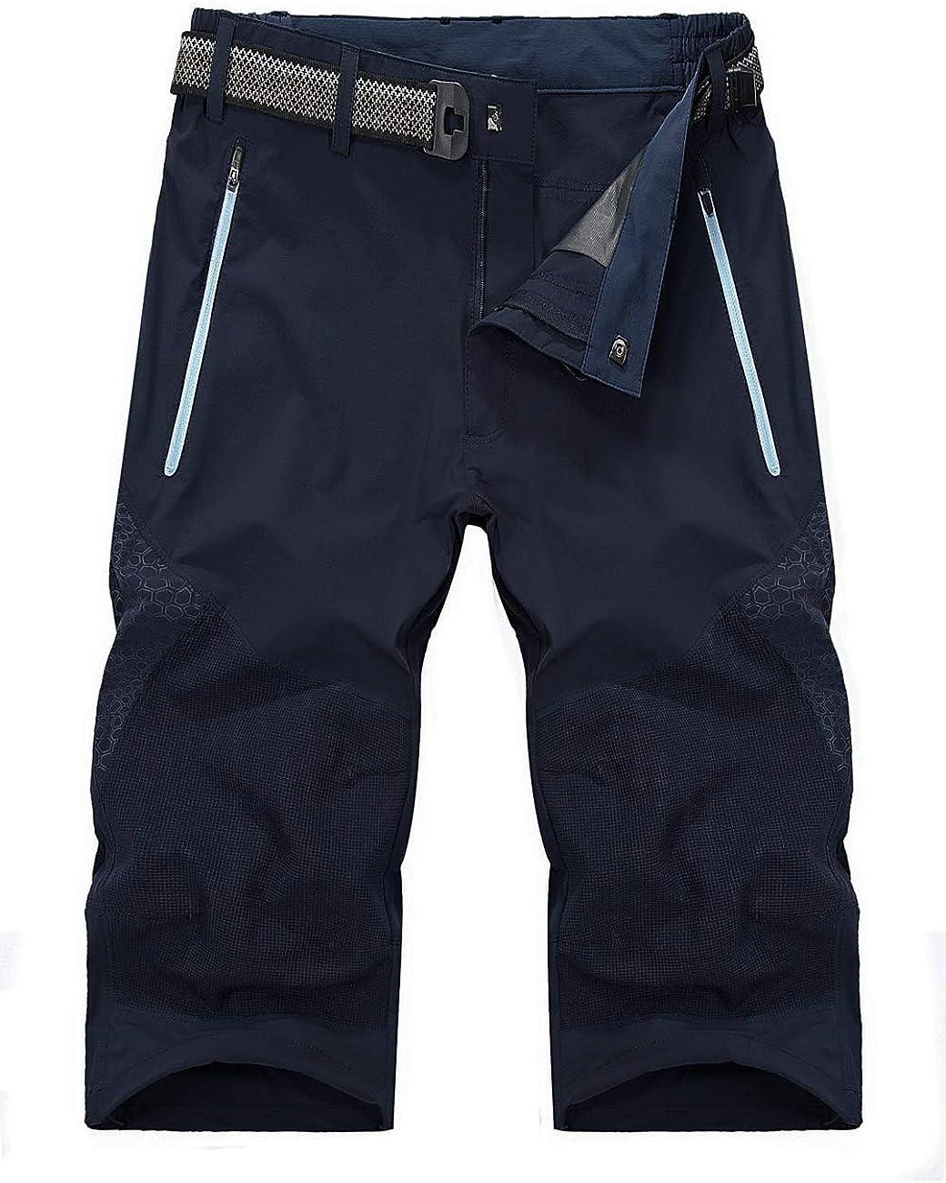 Mens Outdoor Stretch Waist Thin Quick Drying Shorts Lightweight Slim Fit Cargo Shorts (No Belt)