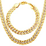 U7 Men 18K Gold Plated Cuban Chain Hip-hop Rapper's Chunky Necklace Bracelet Set Fashion Jewelry (22'/8.3')