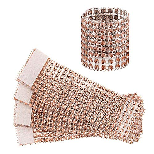 Jingyi E-commerce 120 Pcs Eight Rows Rhinestone Napkin Rings Napkin Mesh Wedding Adornment, Napkin Holder for DIY Party Banquet Birthday … (Rose)
