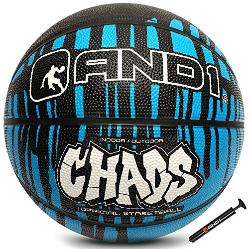 """AND1 Rubber Basketball amp Pump Drip Collection Official Size 7 295"""" Streetball Made for Indoor and Outdoor Basketball Games Blue/Black"""