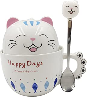 Notrefly Cute Cat Mug With Lid And Lovely Spoon And Claw Handle,Ceramic Funny Cat Face Coffee Mug, Perfect Cat Gift For Cat And Kitten Lovers And Ladies,Capacity 11oz