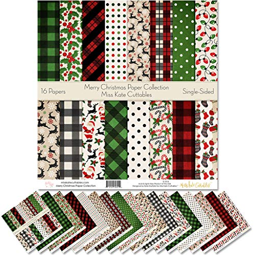 Pattern Paper Pack - Merry Christmas - Scrapbook Specialty Paper Single-Sided 12'x12' Collection Includes 16 Sheets - by Miss Kate Cuttables
