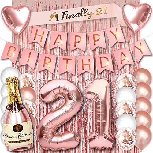 21 Birthday Party Decorations for Her Rose Gold Supplies Big Set with Happy Birthday Banner and 21st Bday Digit Balloons for Women Including Latex and Confetti Balloons