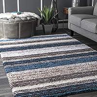 Keno Blue Multi Striped Shaggy Area Rug