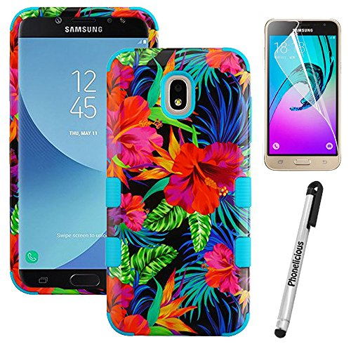 for Samsung Galaxy J7 2018 (J737P) / J7 Star / J7 Refine / J7 V 2nd GEN Phonelicious Tuff Design Case [Shock Absorption] [Drop Protection] Impact Phone Tuff Cover (Electric Hibiscus)