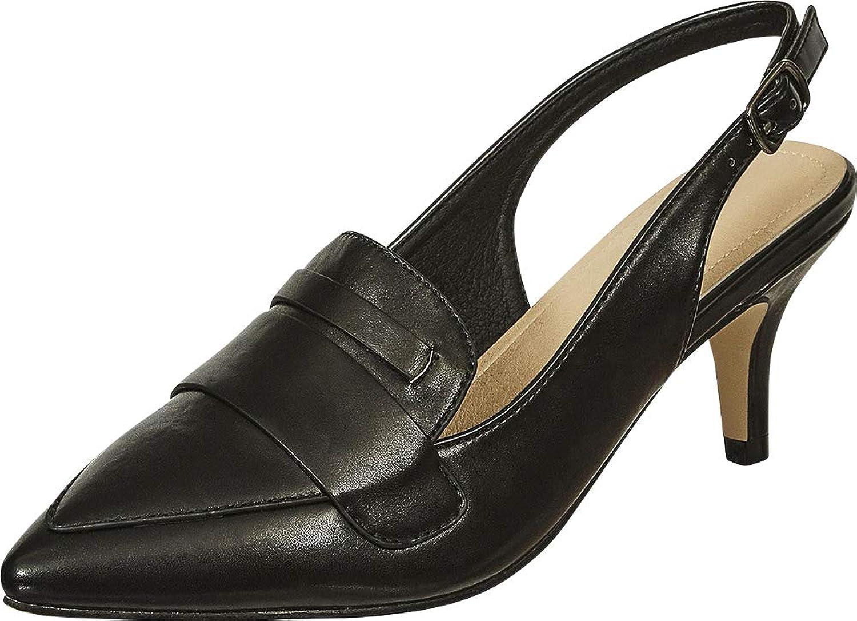 Cambridge Select Women's Pointed Toe Loafer Slingback Mid Kitten Heel Pump