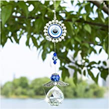 Crystal Angel Suncatcher with Feng Shui Turkish Blue Evil Eye Protection and Good Luck Charm Gift