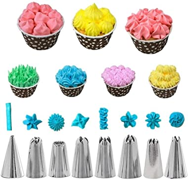 YSHG 14Pcs/Set DIY Cake Decorating Tools Reusable Icing Piping Nozzles Set Pastry Bag Scraper Flower Cream Tips Converter Pea
