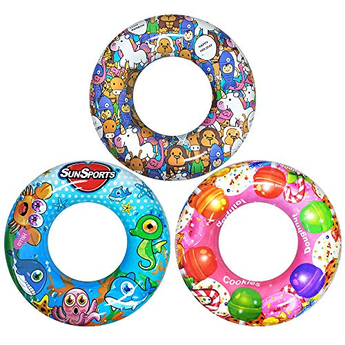 Vocado 3 Pack Swim Rings, Pool Float, 24