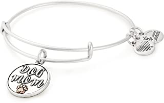 Alex and Ani Expandable Wire Bangle Bracelet for Women, Dog or Cat Mom Charm, Rafaelian Finish, 2 to 3.5 in