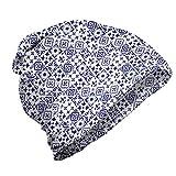 ABAKUHAUS Índigo Gorro Unisex, Azulejo Cuadrado Modelo Abstracto, Tela Suave 100% Microfibra Estampada Ideal para Actividades al Aire Libre, Indigo Blanca