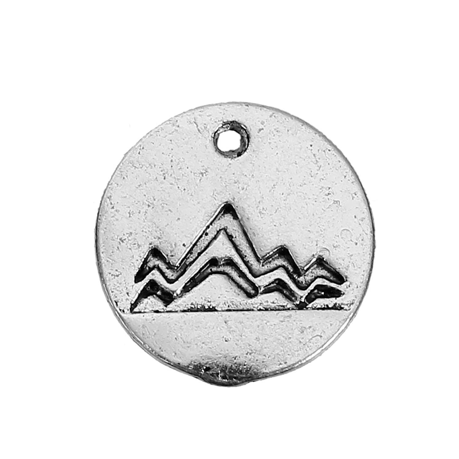 PEPPERLONELY 20pc Antiqued Silver Alloy Travel Mountain Carved Round Charms Pendants 13mm (1/2