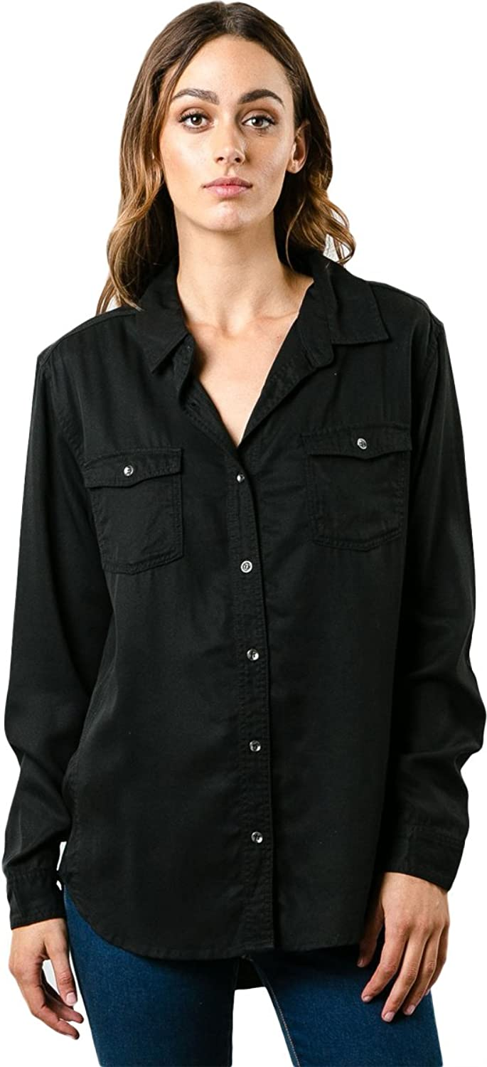 Rusty Womens Perspective Button Up LongSleeve Shirts
