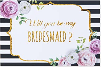 Gold glitter will you be my bridesmaid or maid of honor stickers for mini champagne bottles, asking bridesmaids, bridal shower gift, 2x3 inches
