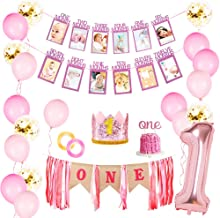 JOYYPOP 1st Birthday Girl Decorations - Baby Girl 1st Birthday Party Supplies with Photo Banner 1-12 Month, First Princess...