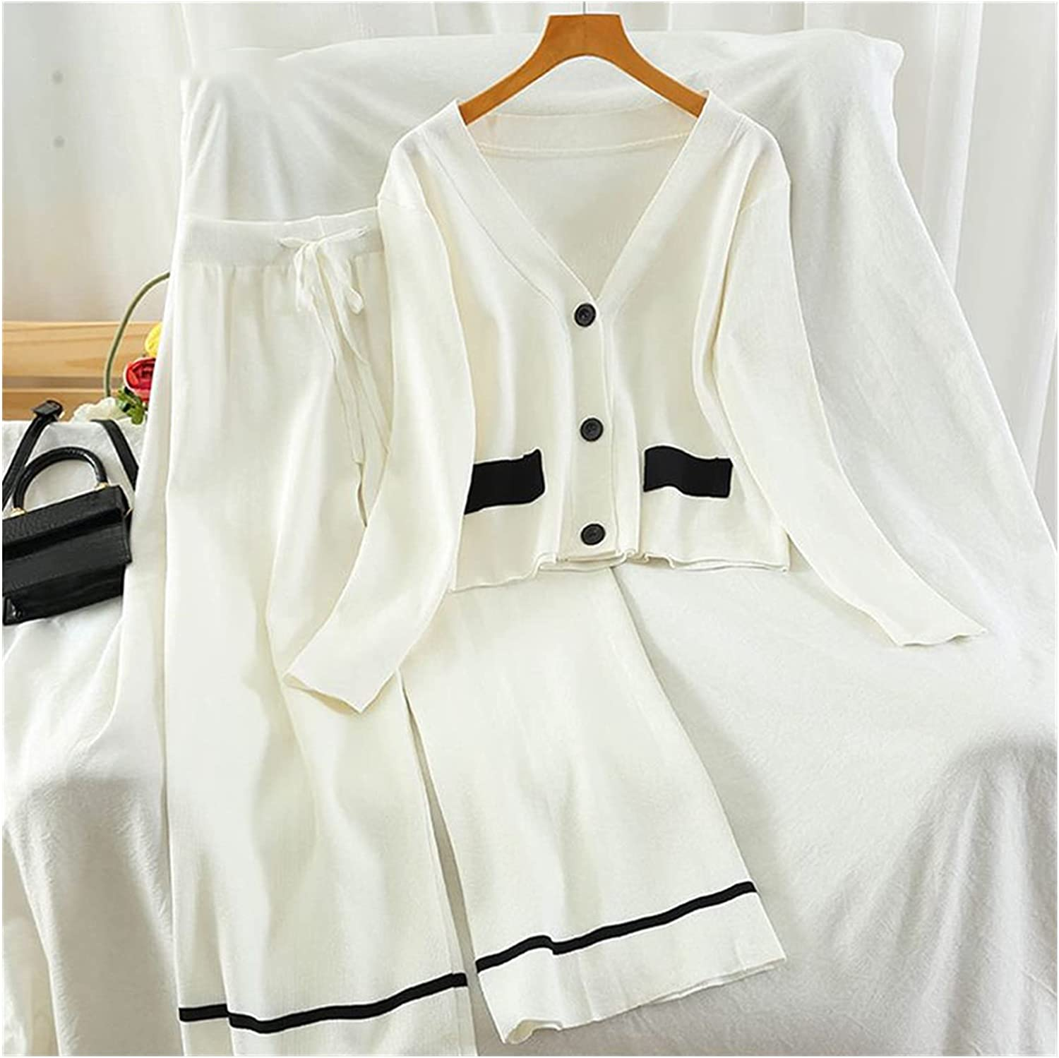 SGZYJ Spring Summer Women Knitted Tracksuits 2 Piece Sets Single Breasted Cardigan Sweate + Straight Wide Leg Pant Suits (Color : White, Size : One Size)