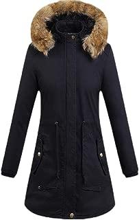 Womens Warm Long Sleeve Thicken Hooded Fleece Lined Outwear Coats Tops