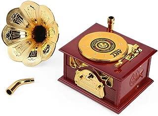 REFURBISHHOUSE Gramophone Music Box Fur Elise Ornament Box Clockwork Fonografo Music Box Vintage Retro Style Birthday Gift Home Decor-Colori Casuali