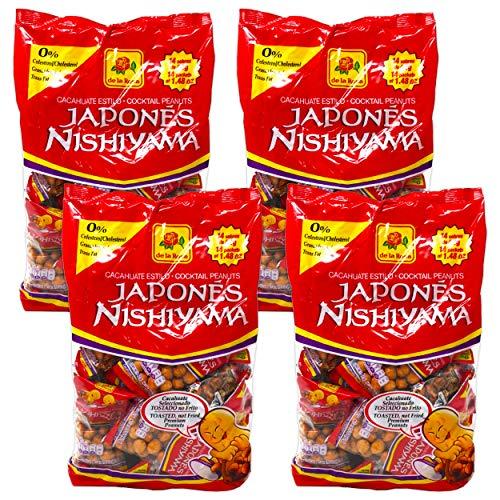 Japanese Peanuts Mexico Snacks - 4 Pack De La Rosa Nishiyama Japanese Cocktail Peanuts (20 oz total)