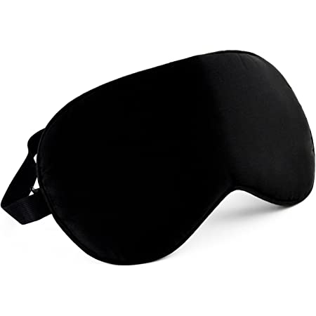【N.M.JAPAN】 天然 100% シルク 快眠 アイマスク 目隠し 旅行に最適 ブラック フリーサイズ (調節可能)
