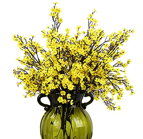 JAKY-Global Babys Breath Fabric Cloth Artificial Flowers 6 Bundle European Fake Silk Plants Decor Wedding Party Decoration Bouquets Real Touch DIY Home Garden(Yellow)