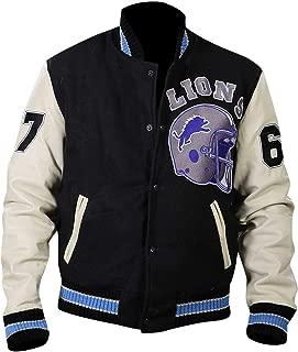 Mens Detroit Beverly Hills Axel Lions Letterman Varsity Leather Jacket