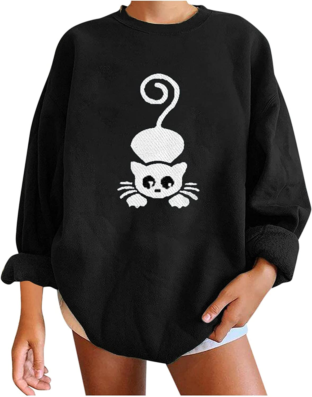 Women's Oversized Loose Sweatshirt Crewneck Tops Long Sleeves Cute Cartoon Cat Printing Casual Pullover