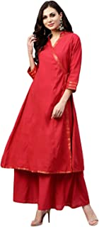 Bhama Couture Women's Cotton A Line Salwar Suit Set (Pack of 2)