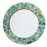 NOVICA Green and Teal Glass Mosaic Wood Framed Round Wall Mounted Mirror, Aqua Trellis'