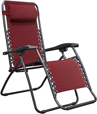 koonlert14 Zero Gravity Chair Outdoor Porch Patio Recliner Seats Comfortable Adjustable Padded Headrests Durable Textilene Fabric Adjustable Backrest w/Dual Finger Tip Locking System - Burgundy #1941