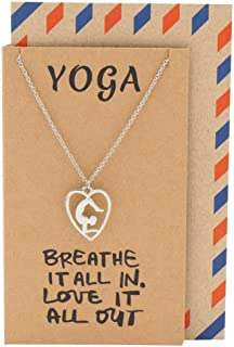 Handmade Yoga Pendant Necklace with Zen Heart Meditation Scorpion Yoga Pose Charm, Birthday Gift for Yogi, Inspirational Gifts for Women