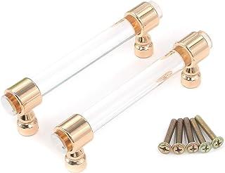 مقابض سحب من الأكريليك كارسي من مركز الذهب الوردي الشفاف إلى المركز 96 ملم / 3.8 بوصة مع مسامير تثبيت حزمة من 2