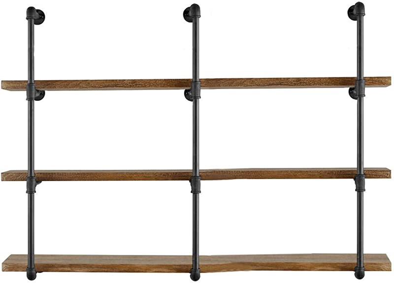 Yuanshikj 3Pc 42 Tall 12 Deep 3 4 Industrial Wall Mount Iron Pipe Shelf Shelves Shelving Bracket Vintage Retro Black DIY Open Bookshelf Storage Offcie Room Kitchen 3 Pcs 4Tier Hardware Only