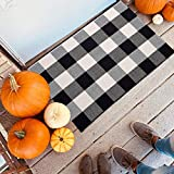 Buffalo Check Rug Black and White Plaid Rugs 23.6 x 35.4 Inch Cotton Hand-Woven Indoor or Outdoor Rugs for Layered Door Mats Washable Carpet for Front Porch/Kitchen/Farmhouse/Entryway