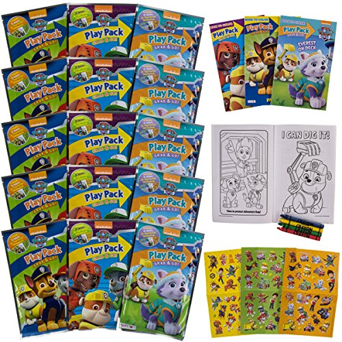 Set Of 15 Bendon Kids Paw Patrol Play Packs Fun Party Favors Coloring Book Crayons Stickers