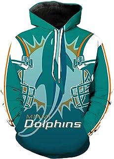 Hombres con Capucha Larga de la Manga Digital 3D de impresión Uniforme Springe Vertikal Delphin Miami Dolphin béisbol del Equipo de fútbol Pullover Sudaderas,Rugby Jersey,Jersey Rugby