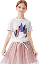 SOLOCOTE Girls Feather Print Cotton T-Shirts Kids Short Sleeve Round Neck Tee Size 5-14Y