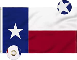 FLAGBURG Texas Flag 5x8 FT, TX Flags with Embroidered Star, Sewn Stripes (Not Print), Canvas Header & Brass Grommets, 100% High-Grade Outdoor Nylon for All-Weather Outdoor Display