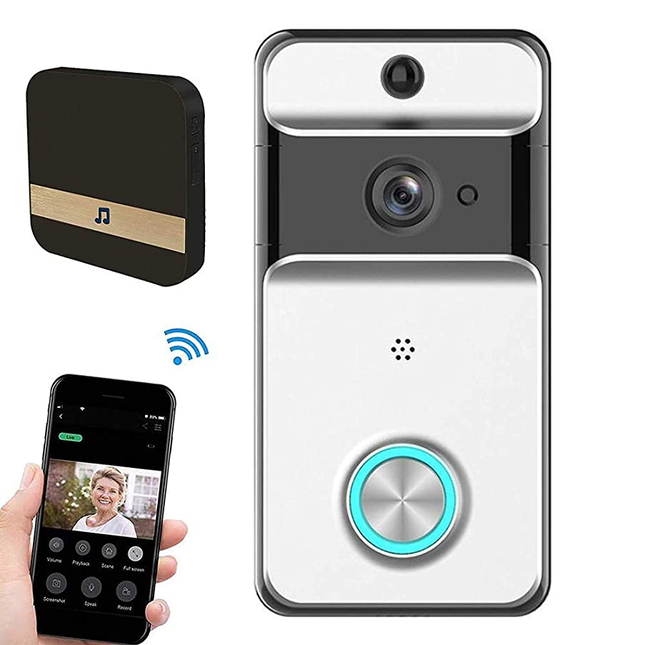 FDURU Wireless WiFi Video doorbell 1080p HDTwo-Way Voice Call Home Phone Remote Monitoring System Intercom Camera and Indoor Notification Machine