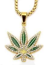 MCSAYS Mens Fashion Hip Hop Weed Hemp leaves Marijuana Leaf Pendant Necklace Gifts