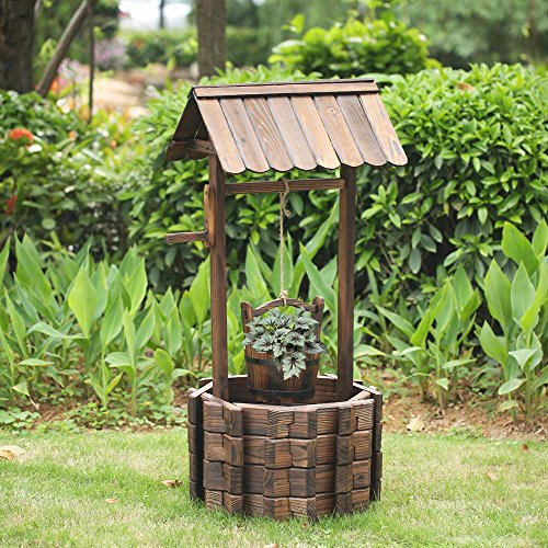 LAZYMOON Outdoor Wishing Well Rustic Fir Wood Bucket Planter Patio Garden Lawn Home Wedding Party Decoration