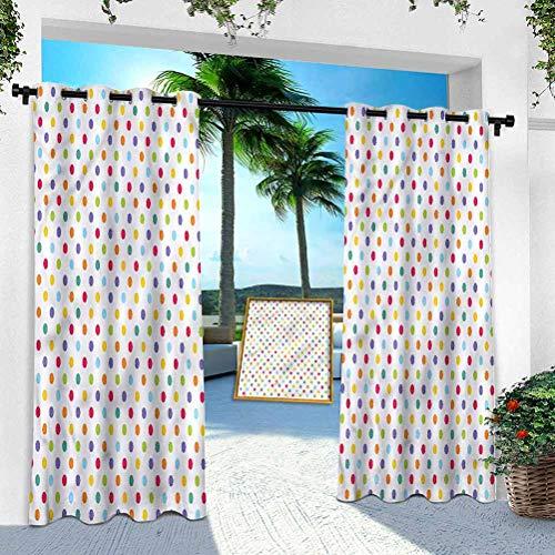 Cortinas para patio al aire libre, abstracto, lunares coloridos, panel de tratamiento de ventanas de 132 x 274 cm, para porche, balcón y pérgola Gazebo (1 panel)