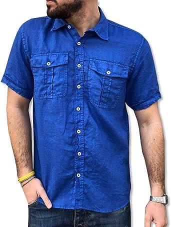 CAMICIE & Dalrededorni - Camisa de algodón puro para hombre, manga corta, talla S, M, L, XL, XXL, 3XL, doble bolsillo