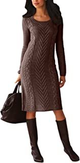 Malaven Women Knit Sweaters Asymmetric Buttoned Collar Stretchable Long Sleeve Sweater Dress
