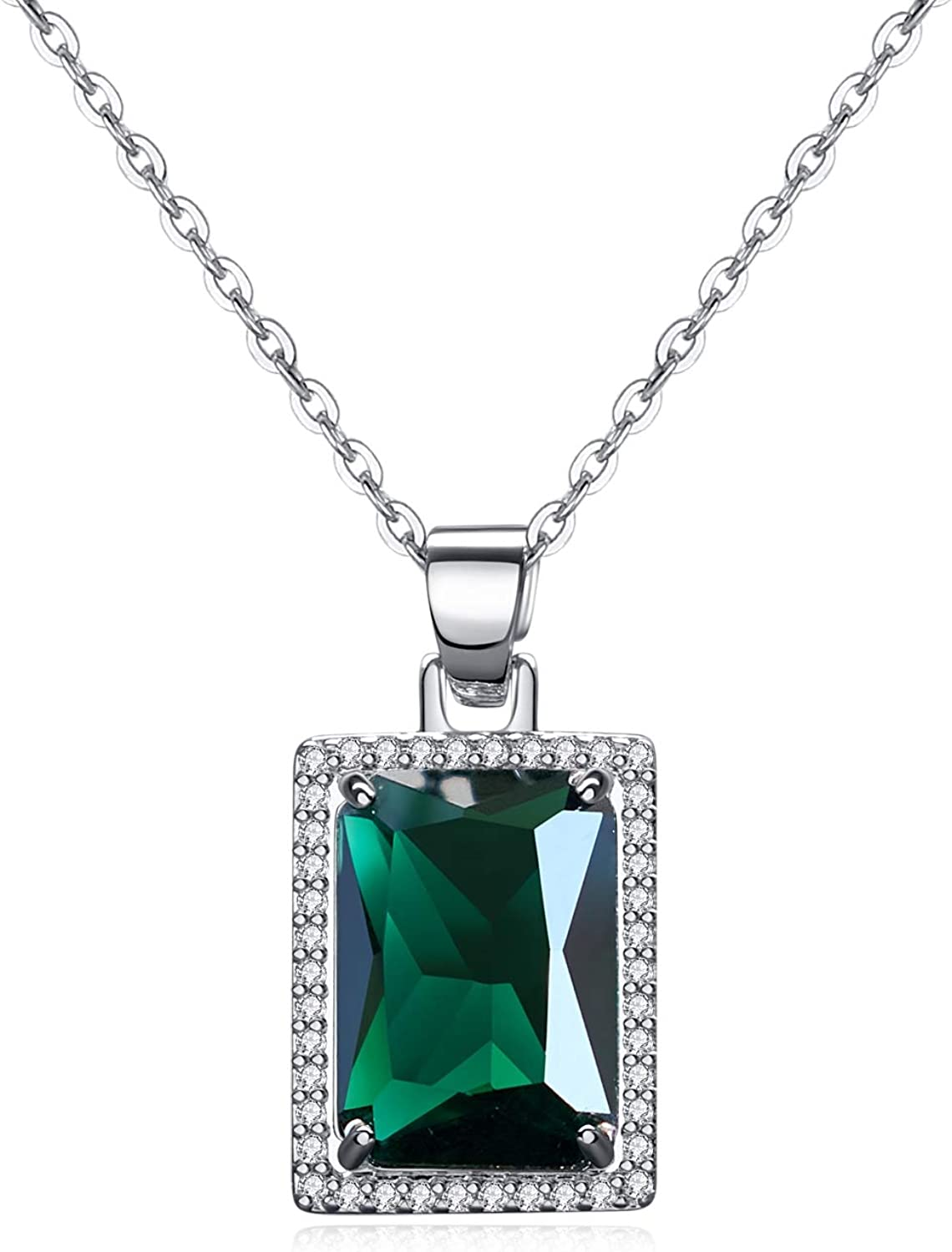 VONSSY Green Pendant Necklace | Rectangle Created-Emerald Pendant Necklace | 18