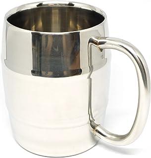 Praxia 樽型 二重構造 ステンレス マグカップ ビアジョッキ 350ml (内容量約300ml) 【ロゴ入り布袋/コルクコースター/クロス 付属】