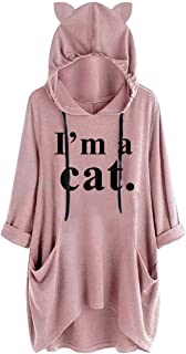 FEDULK Womens Casual Cat Ear Hooded Sweatshirt Long Sleeve Pocket Irregular Blouse Tops