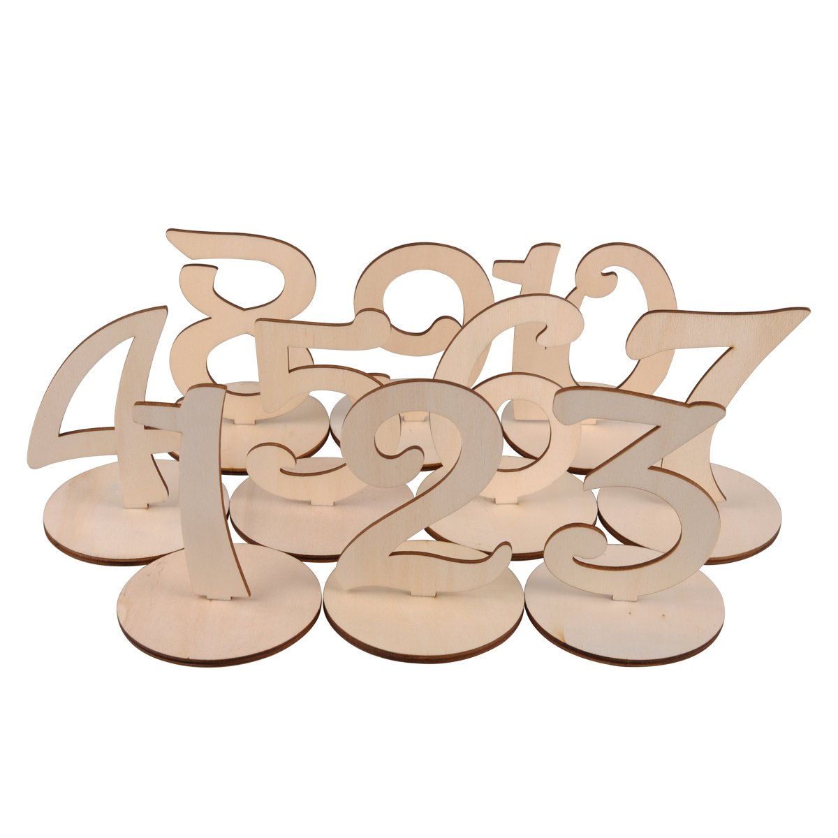 Wooden Table Numbers 1-10 Wedding Table Numbers with Holder Base for Wedding Formal Party